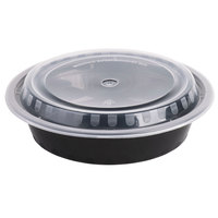 Meal Prep Containers Round 24oz Black Base w/ Clear Lids 150 set/cnt