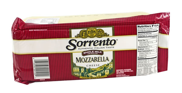 MOZZARELLA CHEESE WHOLE MILK LOW MOISTURE SORRENTO LOAF 8-5 POUND