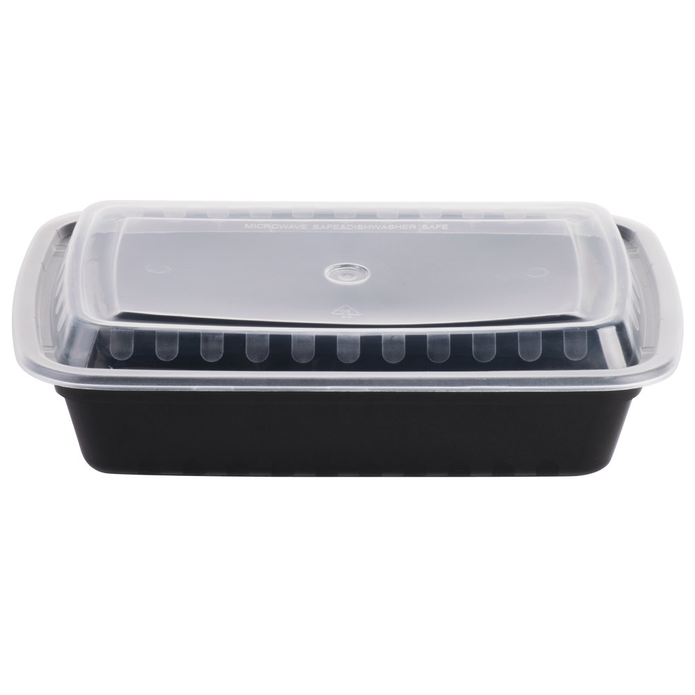 Meal Prep Containers Rectangular 32oz Black Base w/ Clear Lids 150 set/cnt