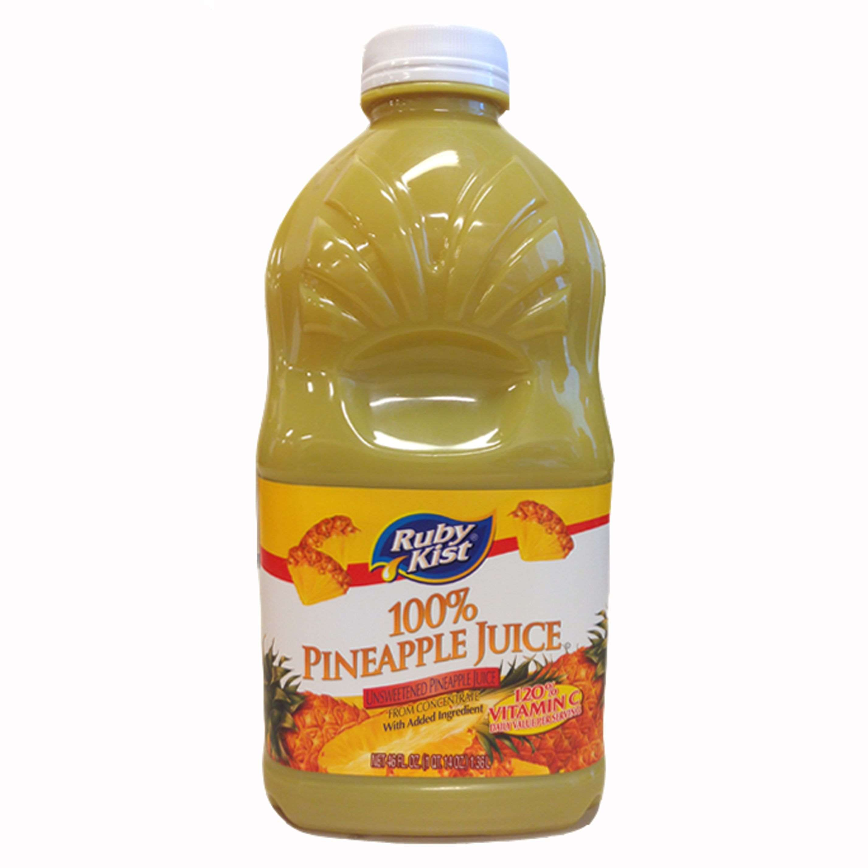 Ruby Kist Unsweetened Pineapple Juice Bottle 46 Ounces - 12 per case