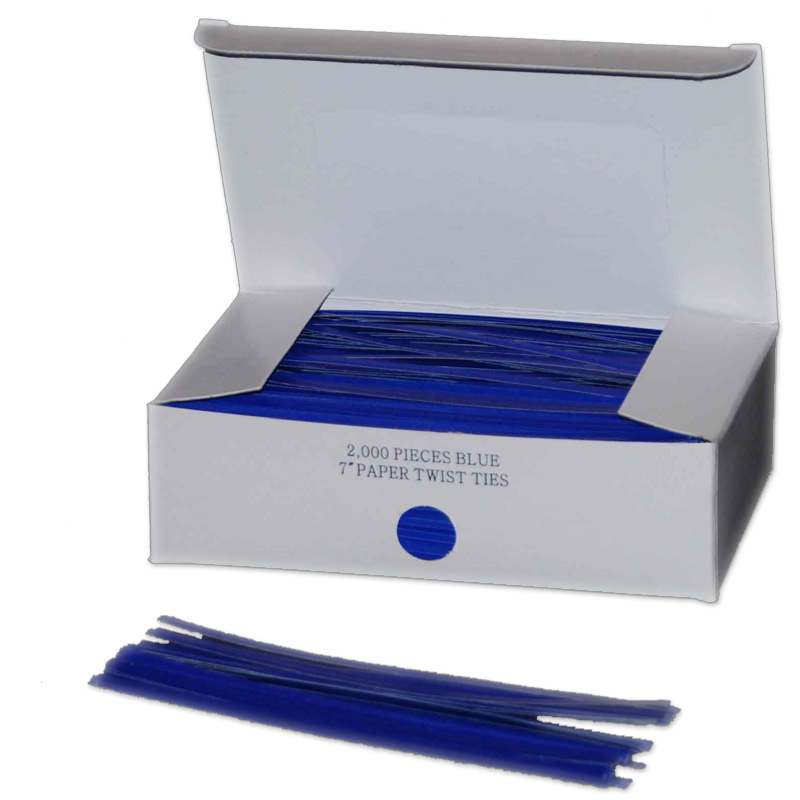 Twist Ties Blue Paper 2000/ct